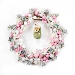 Wianek świąteczny różowy z...